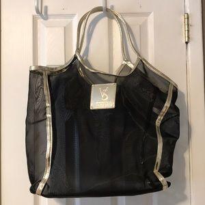 Victoria's Secret mesh blk bag w gold straps